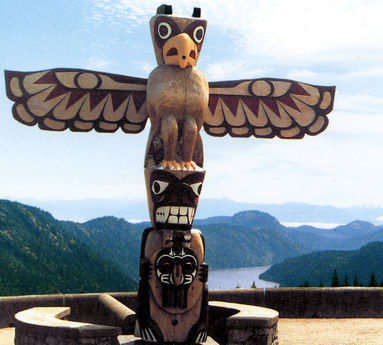 Totem pole on YOS (Malahat Mountain).