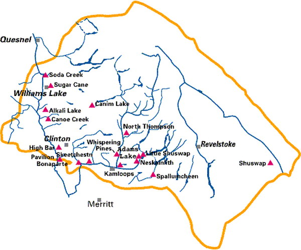 Map Of Canada Showing Kamloops.First Nations Land Rights And Environmentalism In British Columbia